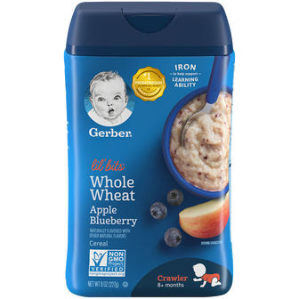 Container of Lil' Bits Whole Wheat Apple Blueberry Cereal