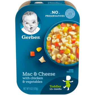 Package of Gerber Mac and Cheese for Toddlers