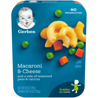 Package of Gerber Macaroni and Cheese with Peas and Carrots