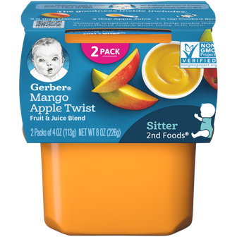 Tub of Gerber 2nd Foods Mango Apple Twist baby food