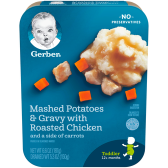 Package of Gerber Mashed Potatoes and Gravy with Roasted Chicken