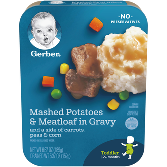 Package of Gerber Mashed Potatoes with Meatloaf in Gravy