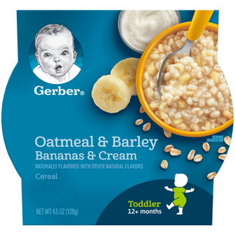 Bowl of Gerber's Banana's and Cream Oatmeal and Barley Cereal