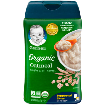 Container of Gerber Organic Oatmeal
