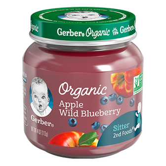 Jar of Gerber Apple Wild Blueberry baby food