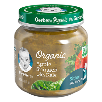 Jar of Apple Spinach Kale baby food