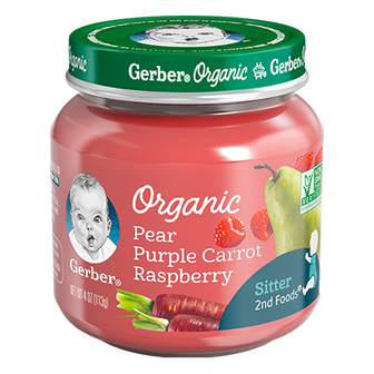 Jar of Gerber Organic 2nd Foods Pear Purple Carrot Raspberry baby food