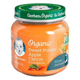 Jar of Gerber Organic 2nd Foods Sweet Potato Apple Carrot and Cinnamon