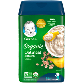 Container of Gerber Organic Oatmeal Banana Cereal