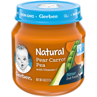 Jar of Gerber Natural 2nd Foods Pear Carrot Pea Baby Food