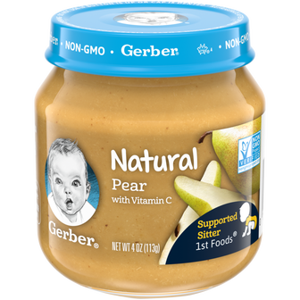 Jar of Gerber 1st Foods Natural Pear Baby Food