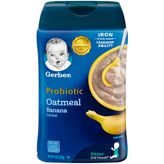 Container of Gerber Oatmeal Banana Probiotic Infant Cereal