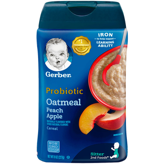 Container of Gerber Oatmeal Peach Apple Probiotic Infant Cereal
