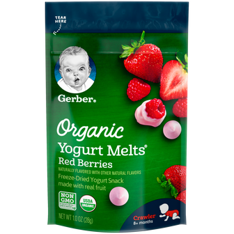 Pouch of Gerber Red Berries Organic Yogurt Melts
