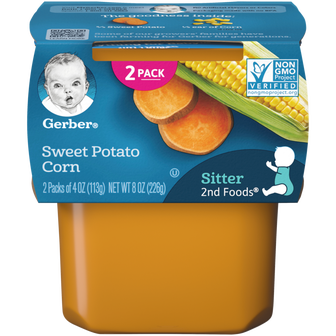 Tub of Gerber 2nd Foods Sweet Potato Corn Baby Food