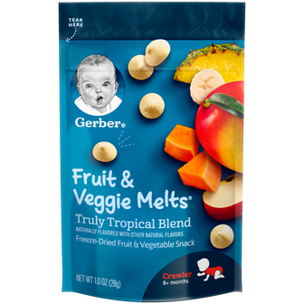 Pouch of Gerber Truly Tropical Blend Fruit and Veggie Melts