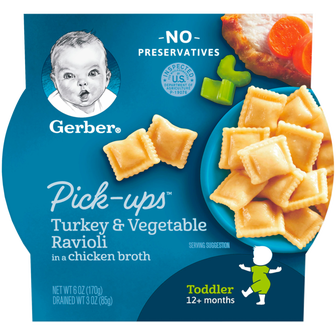 Package of Gerber Turkey and Vegetable Ravioli Pick-Ups