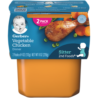 Tub of Gerber 2nd Foods Vegetable Chicken Dinner