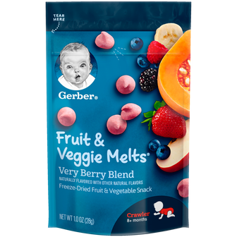 Pouch of Gerber Very Berry Blend Fruit and Veggie Melts