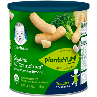 Canister of Gerber Lil Crunchies Organic White Cheddar Broccoli snacks